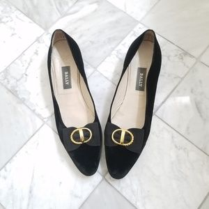 Bally Black Velvet Bow Kitten Heels